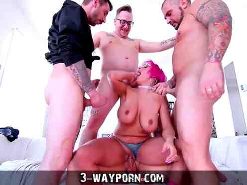 Group handjob busty