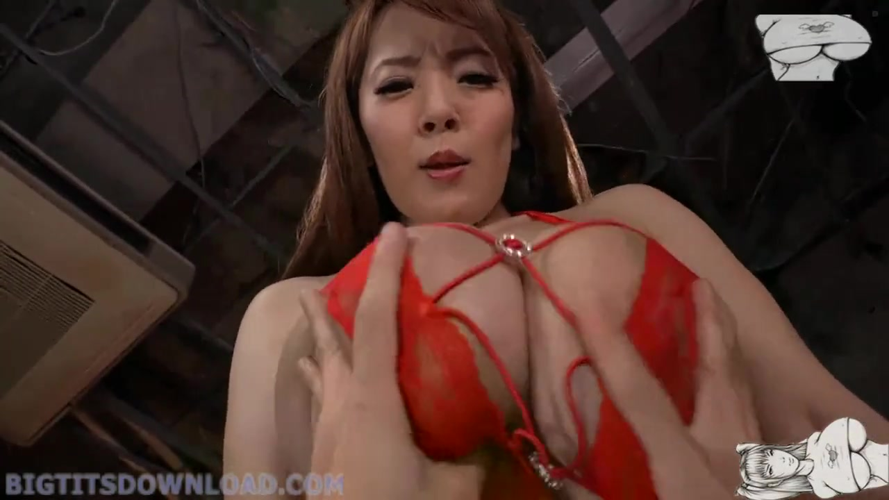 japanese milf with big fake tits in red lingerie - asian titfuck